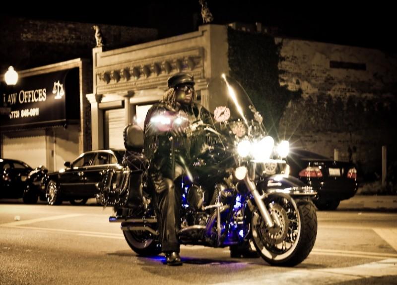 chicago,leather,women motocyclist,night photograph