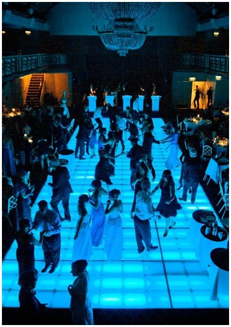 blue light dance floor