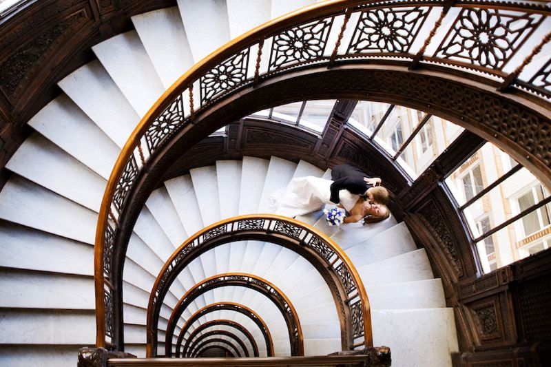 Chris and Kelly, Rookery Building spiral staircase