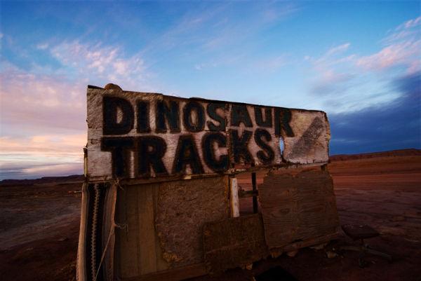 Dinosaur tracks sign