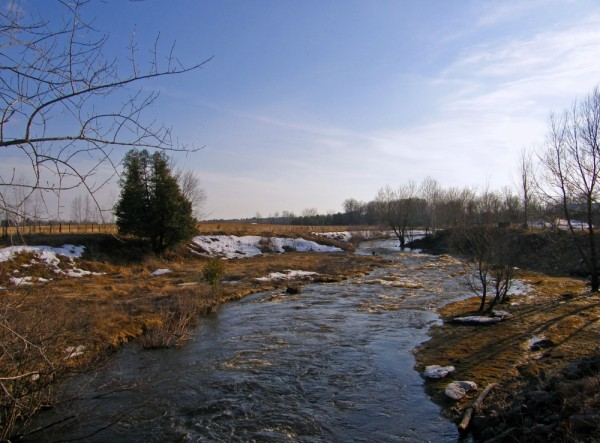 a river capture in the spring time