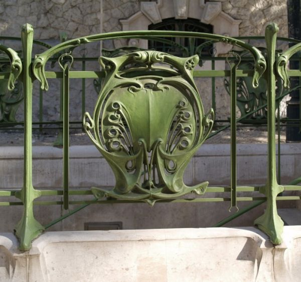 Hector Guimard metro station entrance detail