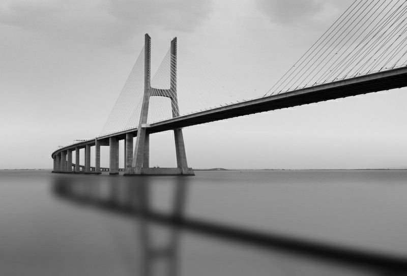 Reflection of Vasco da Gama bridge.