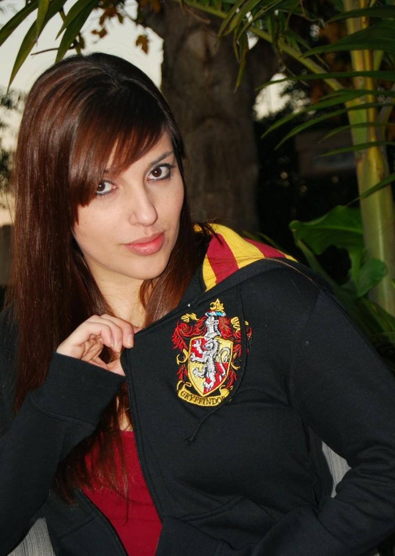 Julie wearing her Gryffindor jacket