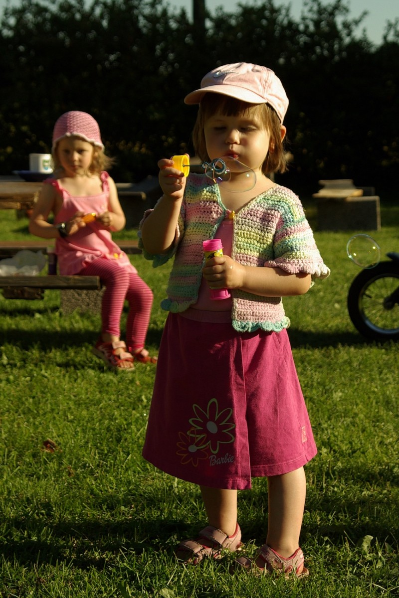 child doing bubbles