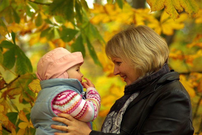 mother and doughter in the park