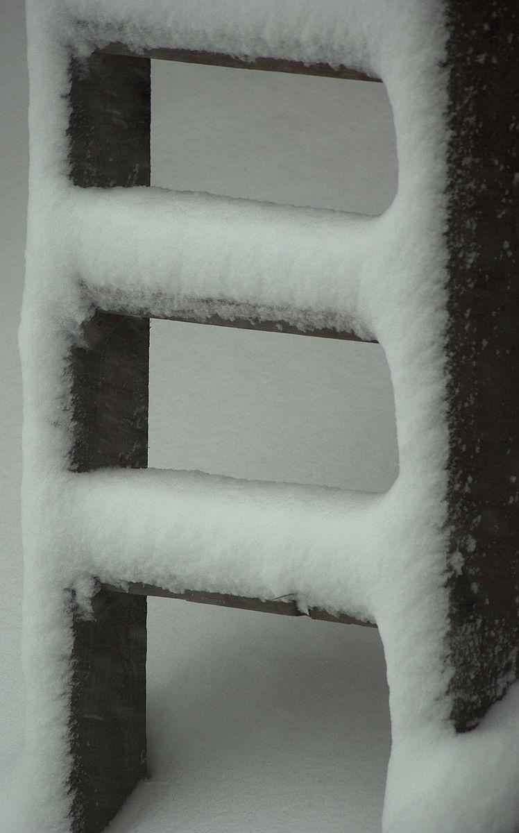 ladder under snow