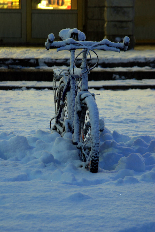 bicycle under snow
