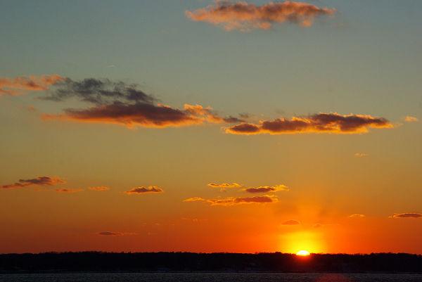 sunset , huntington bay