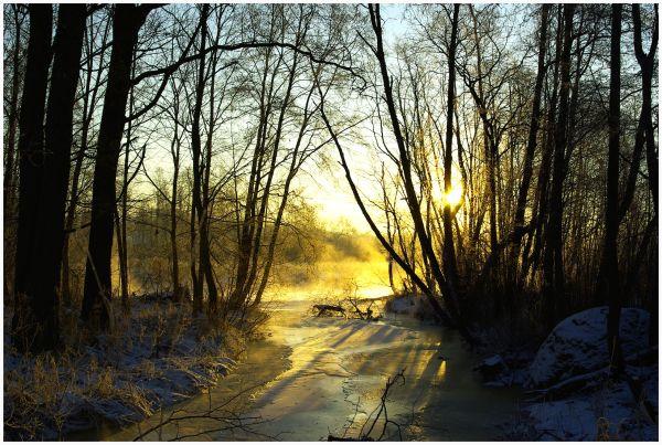 winter river at sunrise