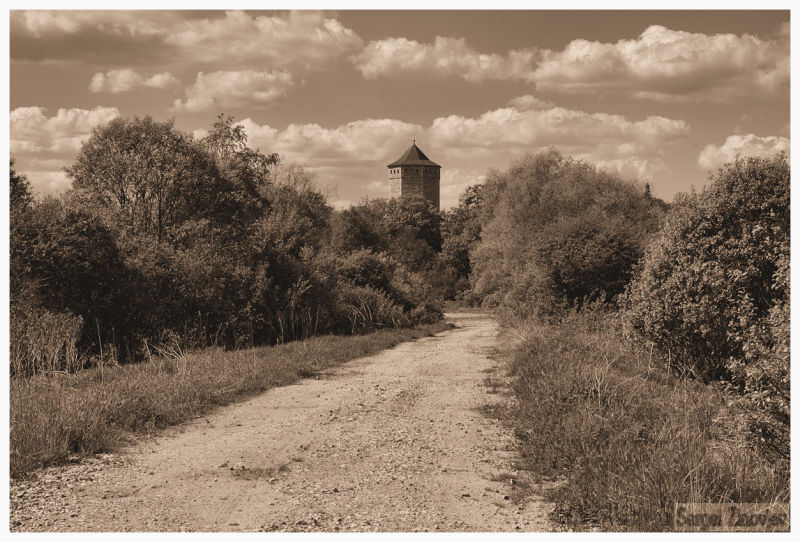 sepia image of the road going to Paide, Estonia