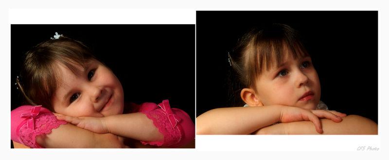 studio portrait of two girls
