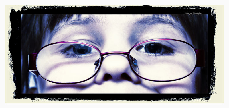girl's face with glasses