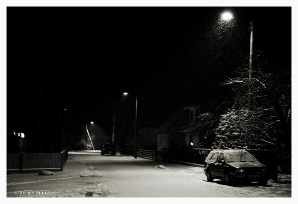 snowy street in town