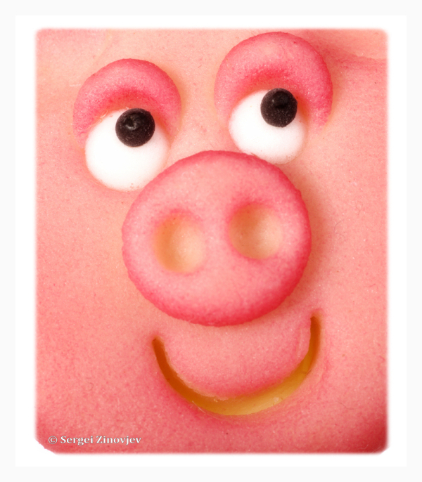 close-up of marzipan pig