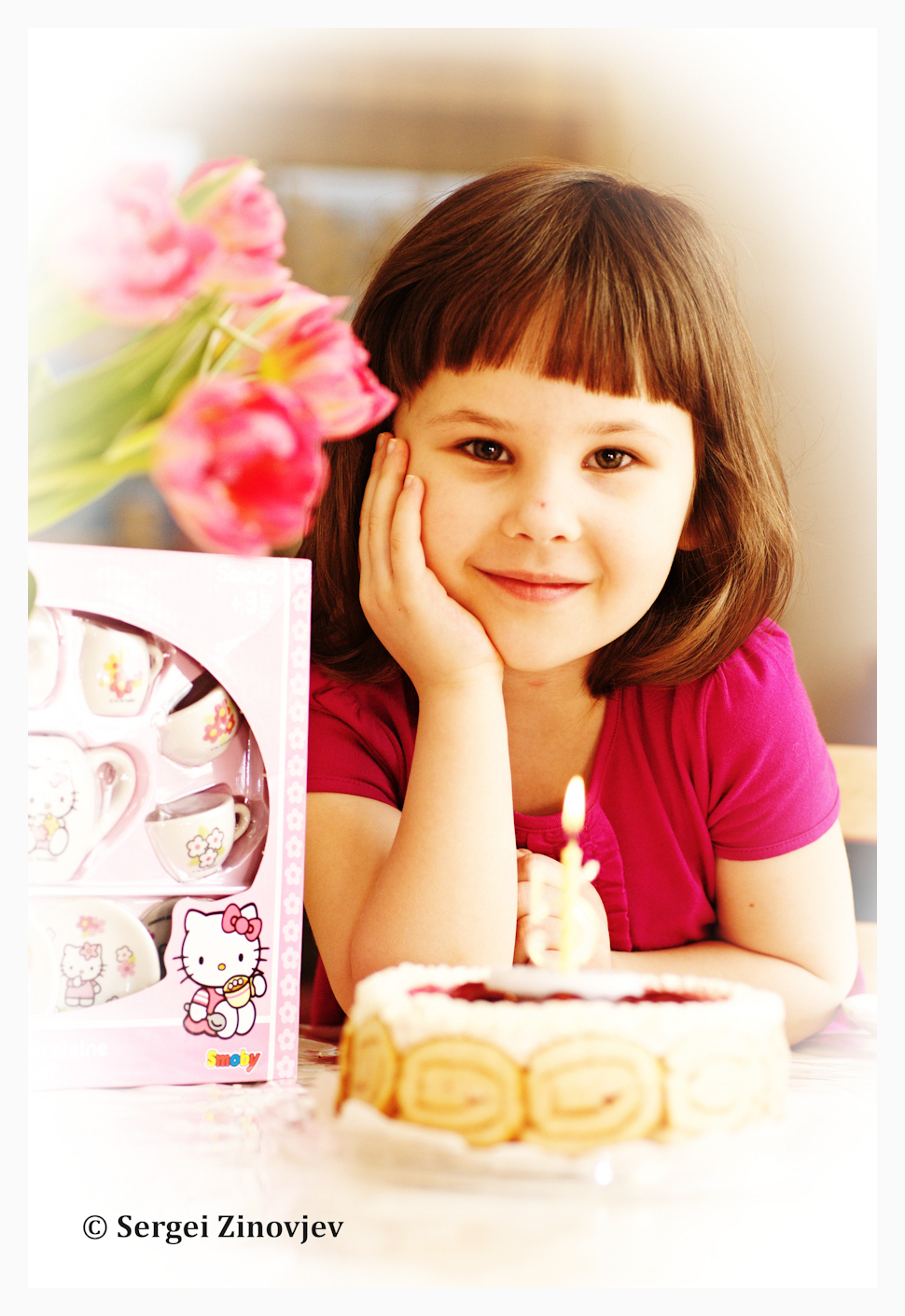 portrait of little girl celebrating her birthday