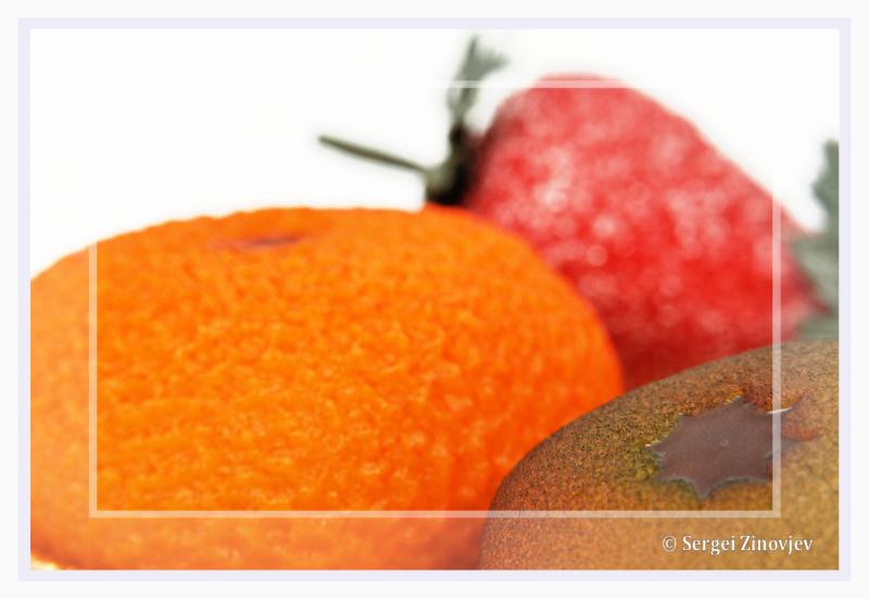 close-up of marzipan fruits