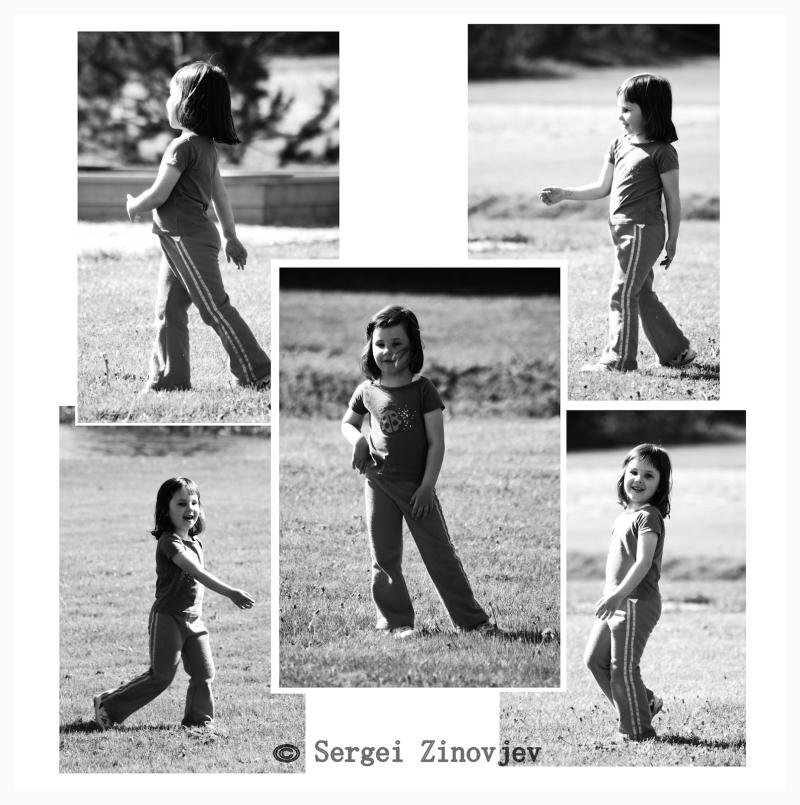 happy little girl walking outside