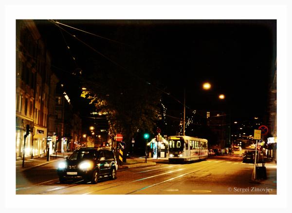 Bogstadveien street at night.