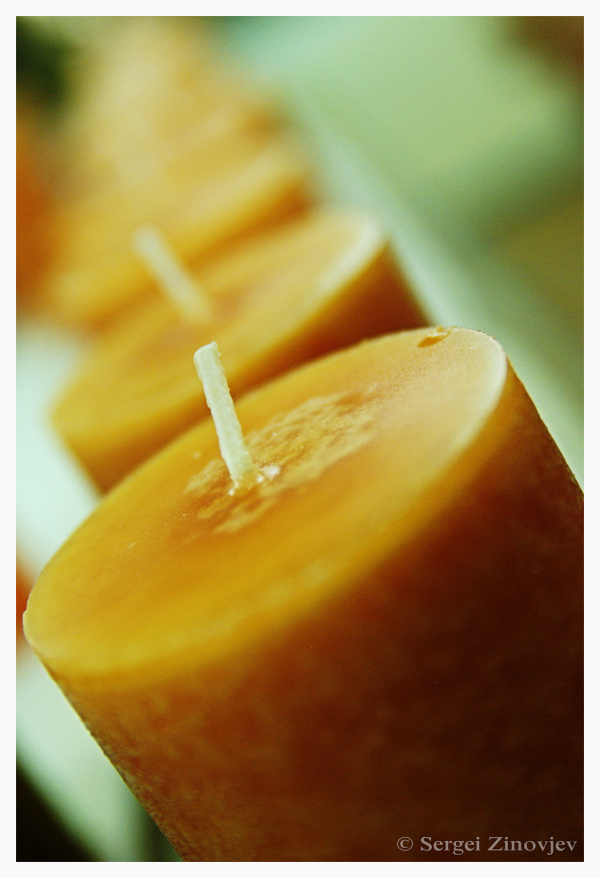 close-up of orange candles