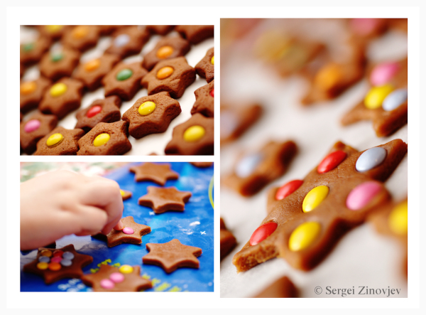 decorating gingerbread with chocolate beans