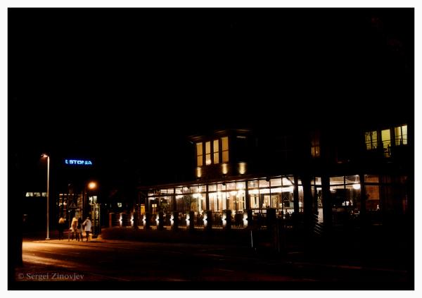 windows of restaurant at night