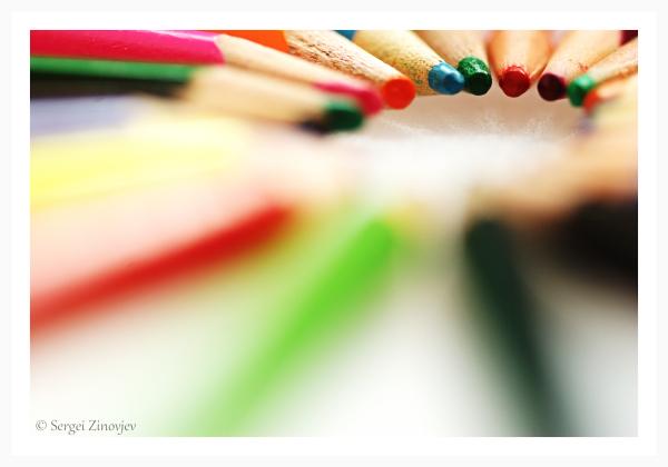 macro of colorful pencils