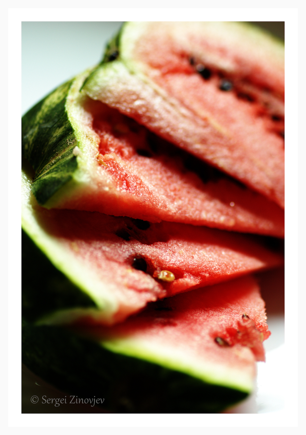 close-up of watermelon slices