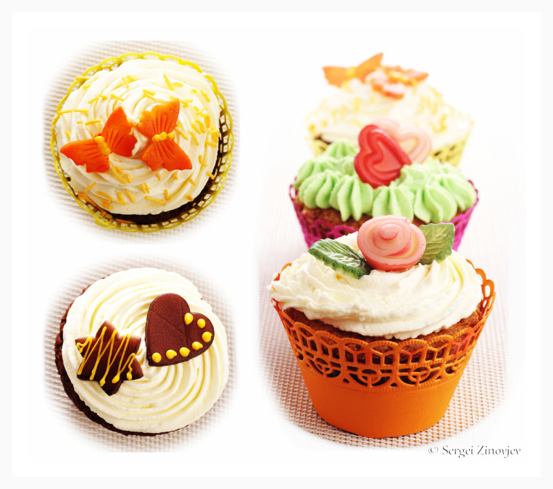 different muffins decorated with marzipan