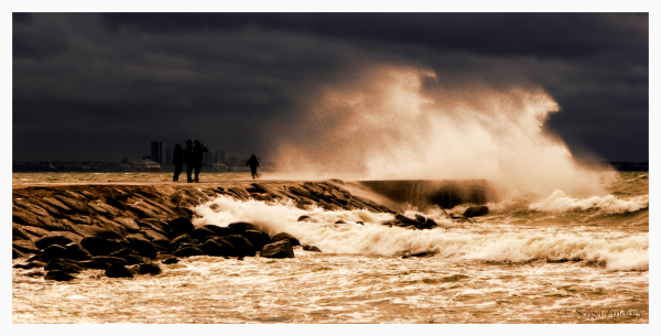 Stormy waters of Baltic Sea in Tallinn