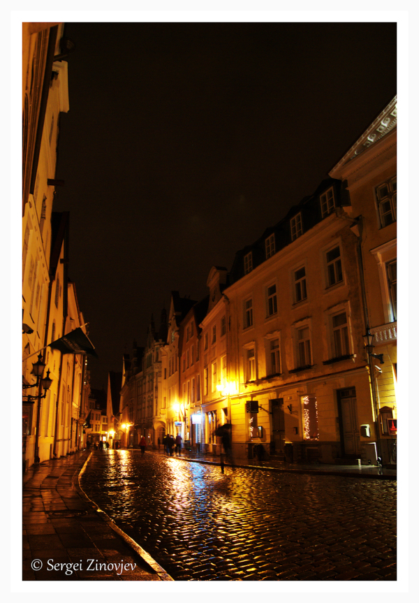 night street of old town in Tallinn, Estonia