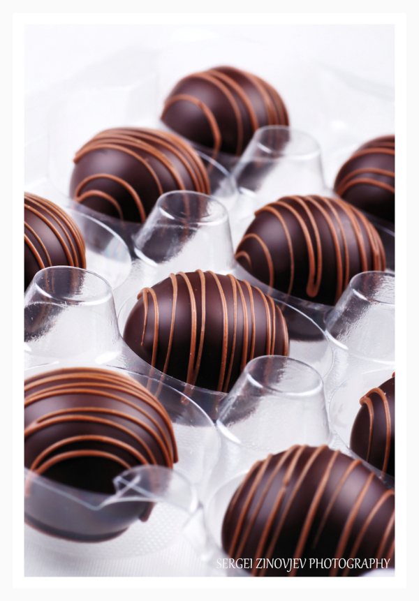 close-up of chocolate pralines