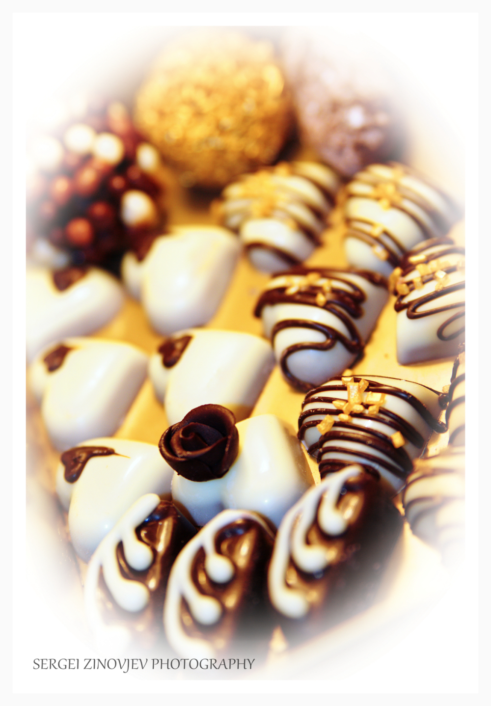 close-up of different handmade chocolate truffles