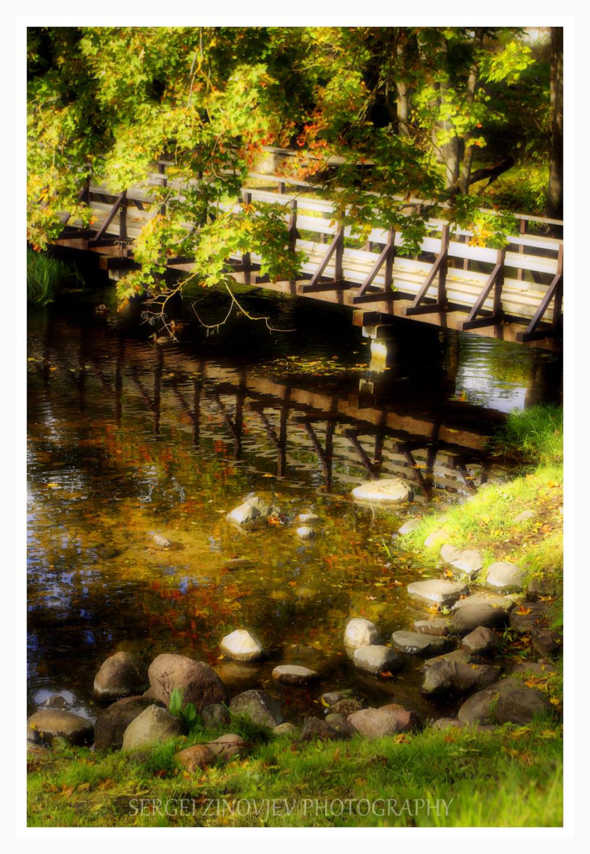 bridge over river in autumn park