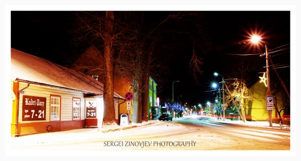 Small town Türi at night.