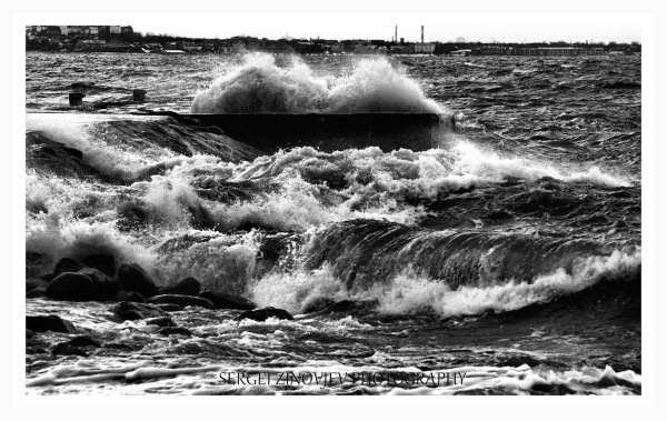 Waves of stormy Baltic Sea
