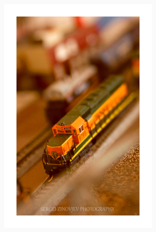 Close-up of model trains
