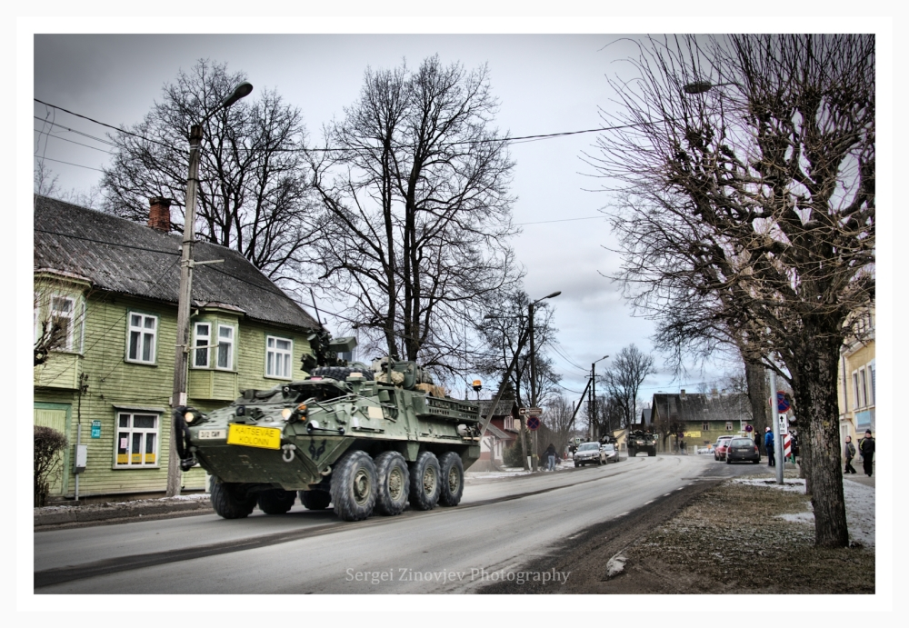 US Army vehicles driving through Türi, Estonia.
