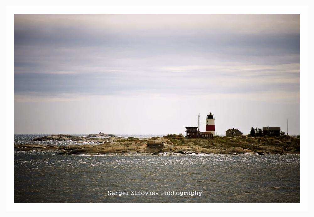 Lighthouse on small island in Sweden.