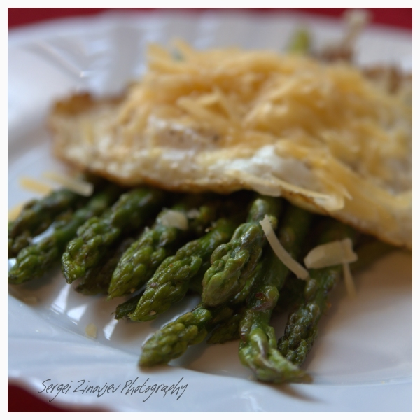 asparagus, egg and parmesan cheese