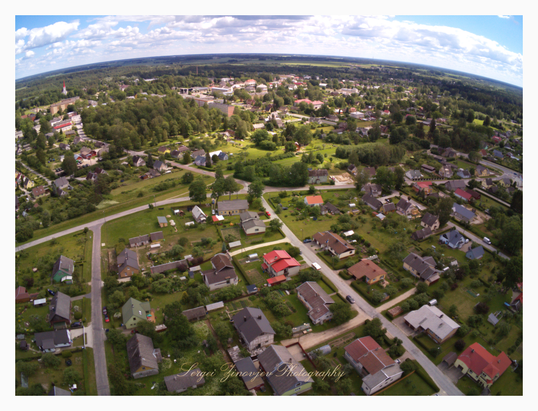 Drone view from above of Türi, Estonia