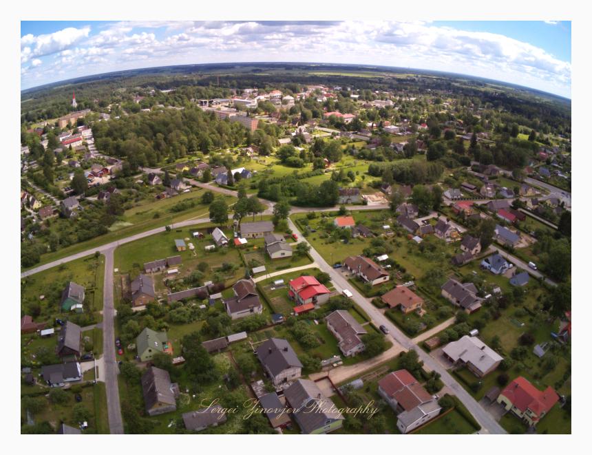 Drone view from above of Türi, Estonia