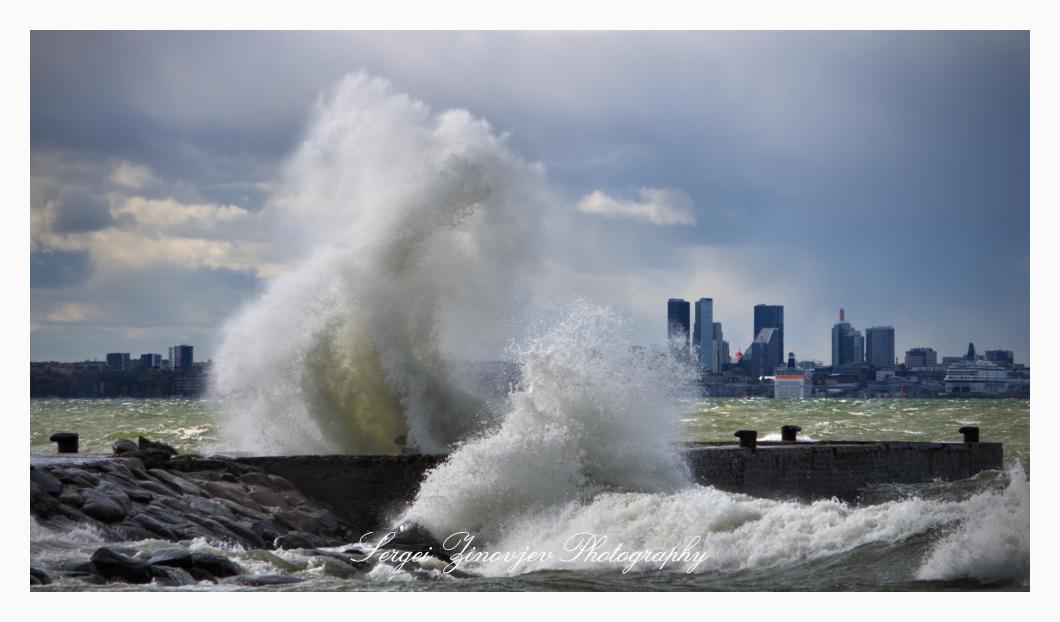 stormy Baltic Sea in Tallinn