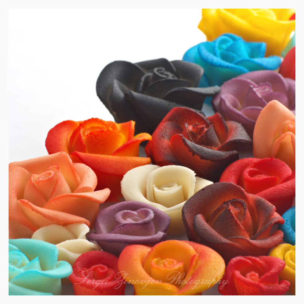 close-up of marzipan roses