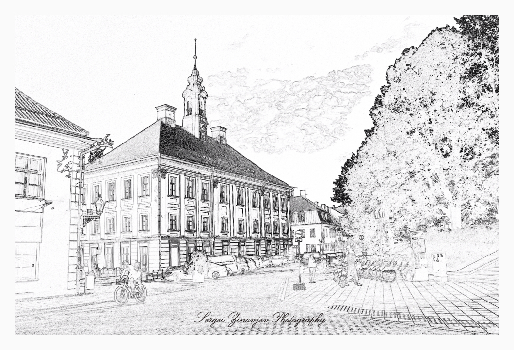 pencil drawing effect of Tartu downtown