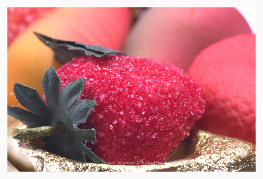 close-up of marzipan strawberry