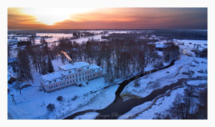 Laupa Manor at sunset