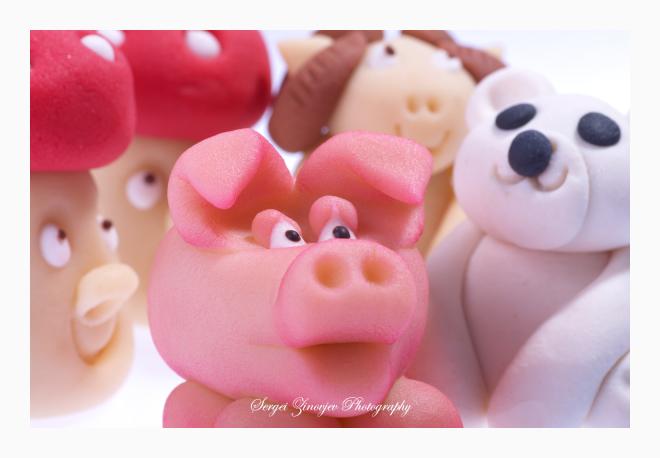 close-up of marzipan animals