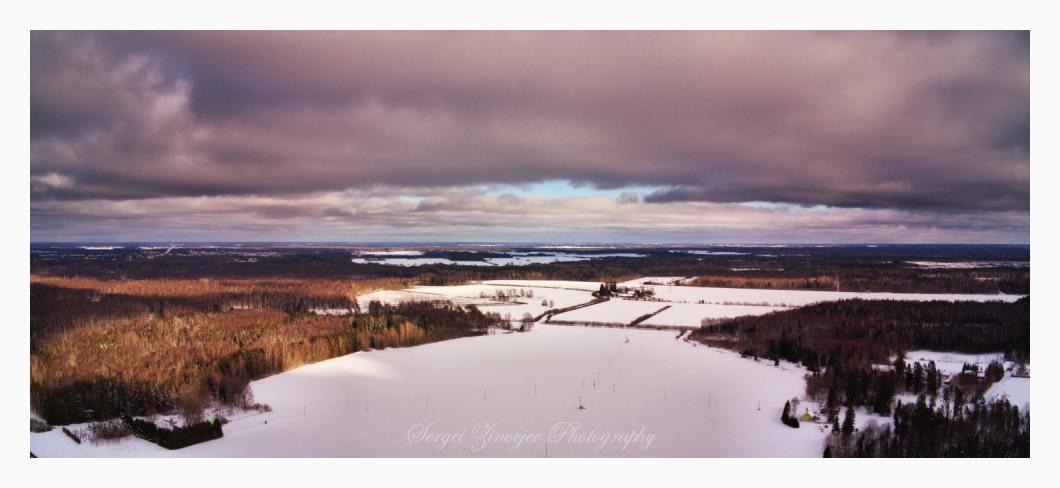 drone view of winter landscape