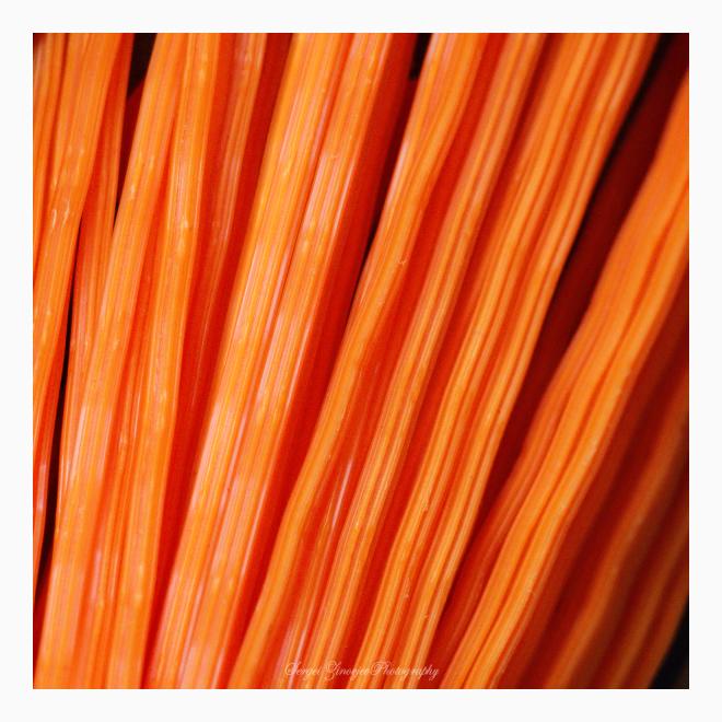 close-up of orange plastic